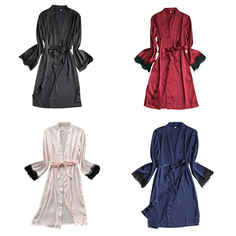 Womens Faux Silk Open Front Kimono Bath Robe V-Neck Solid Color Eyelash Lace Cuff Long Sleeve Nightgown Belted Waist Sleepwear