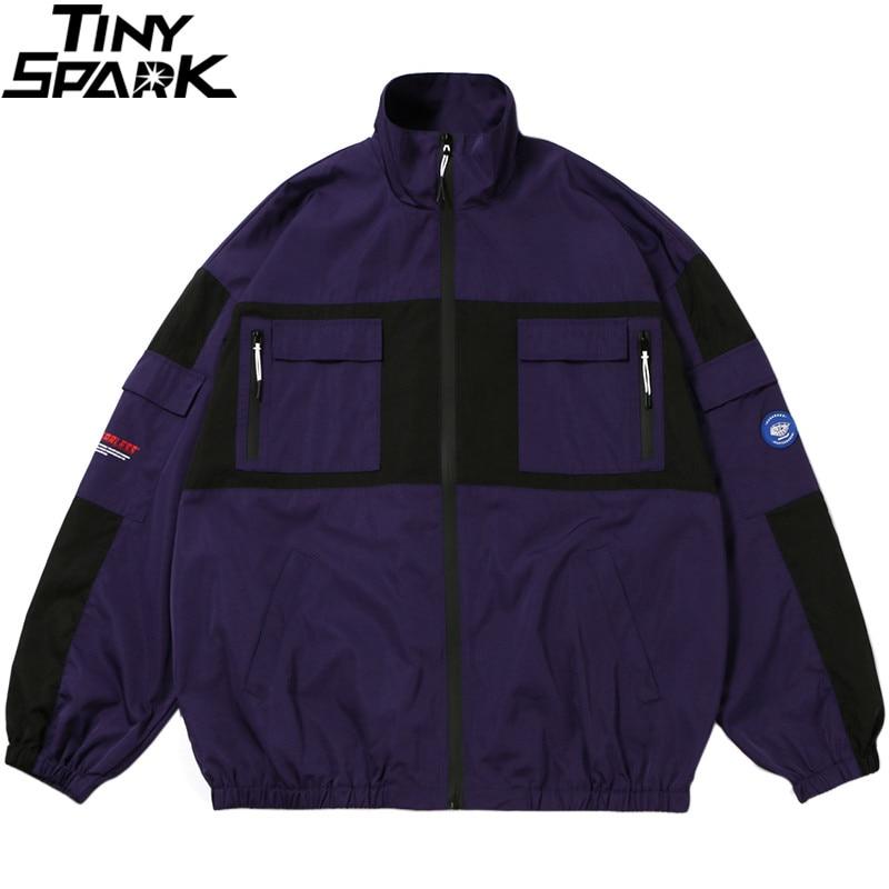 Hip Hop Men Streetwear Jacket Windbreaker Chinese Kanji Color Block Retro Track Jackets Coat Harajuku Jacket Outwear Oversized