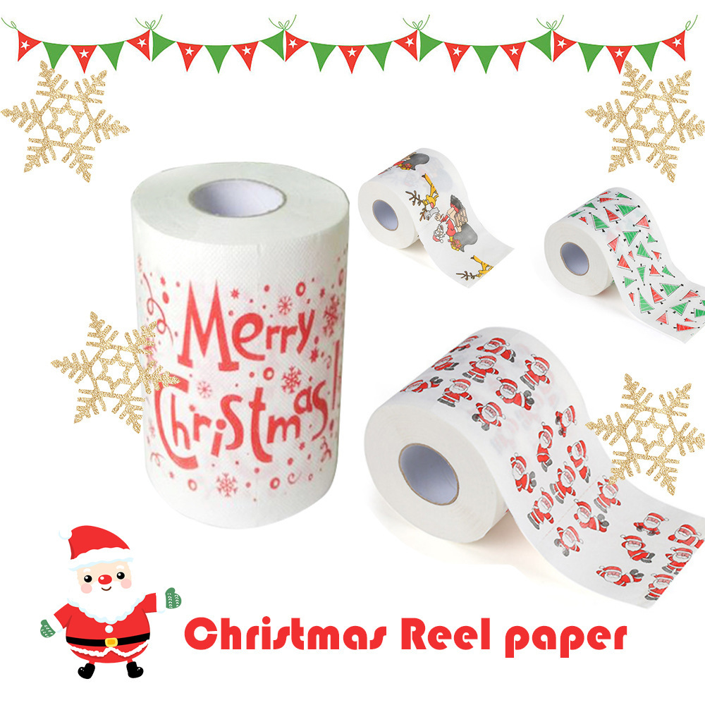 1 Roll 2 Ply Number Christmas Printed WC Bath Funny Toilet Paper Tissue Bathroom Supplies Jag Gift Drop Shipping Rolling Paper