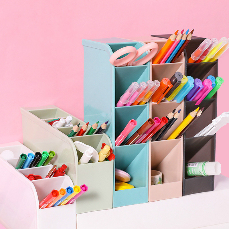 Four Grid Large Capacity Desk Pen Holder Pencil Makeup Storage Box Desktop Organizer Stand Case School Office Stationery