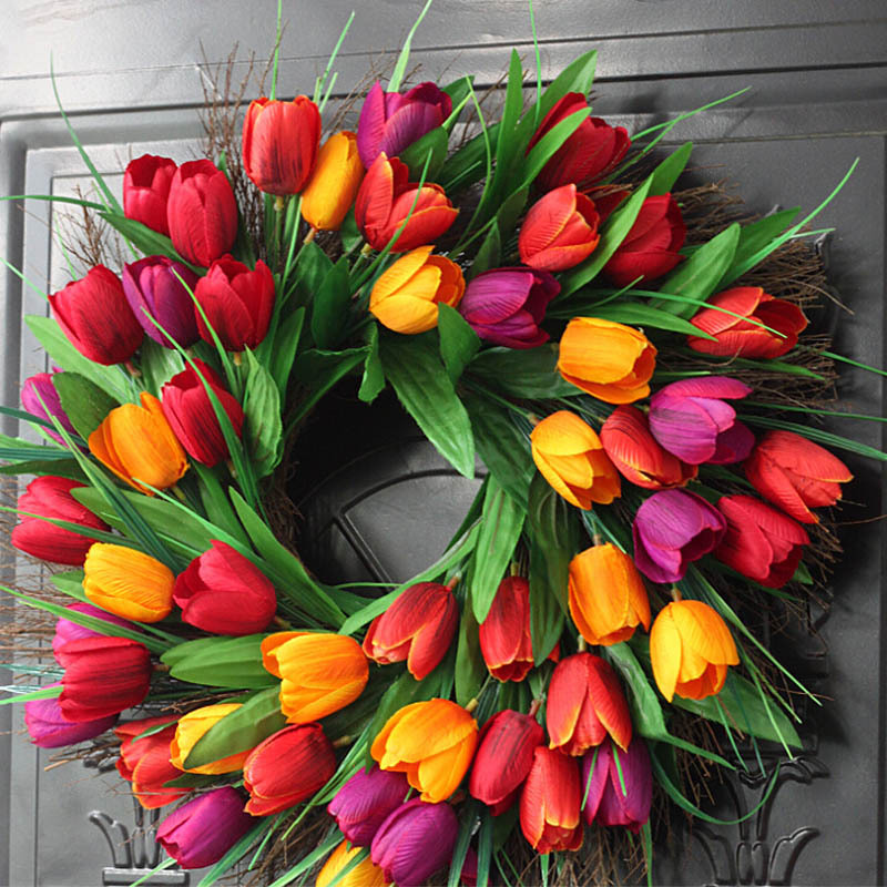 flower wreath Spring Artificial Tulip Front Door Wreath Home Decor Window Wall Party Wedding Valentines Day Hanging Decor