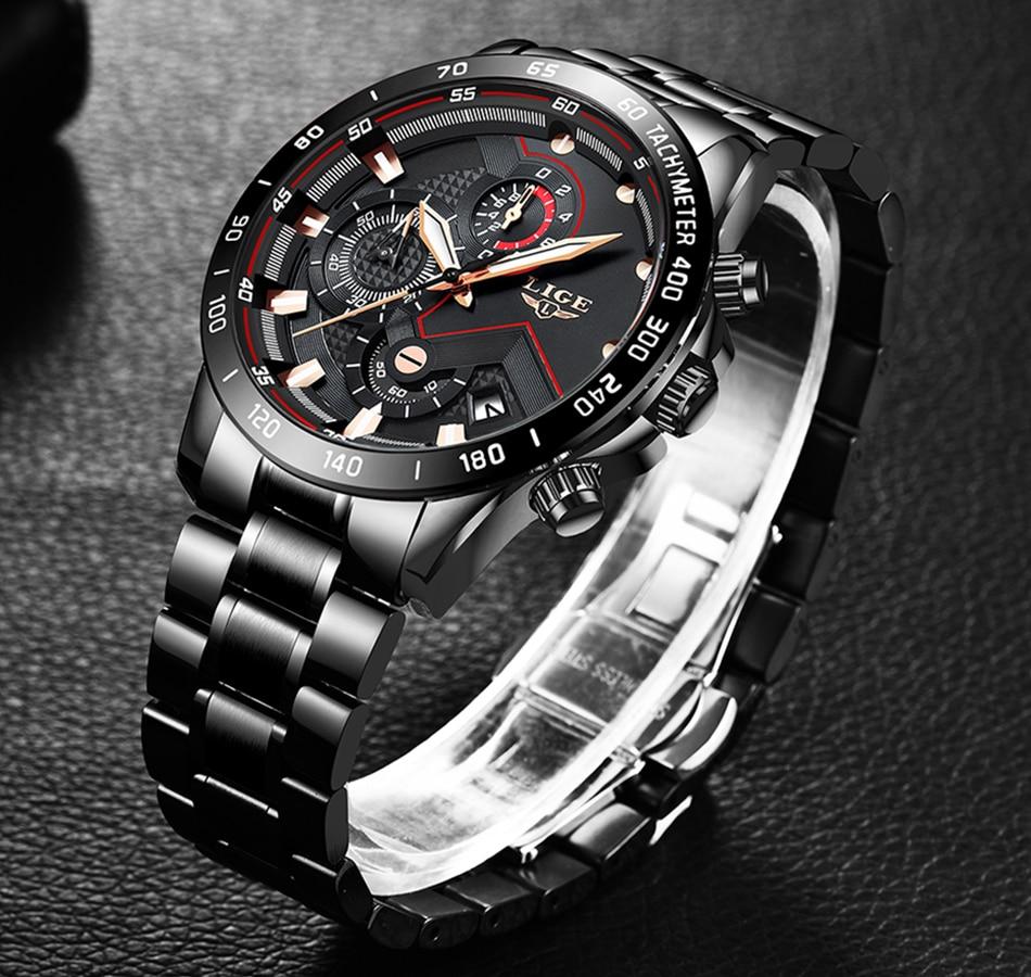 IsMyStore: 2020 LIGE Fashion Mens Watches Stainless Steel Top Brand Luxury Sport Chronograph Quartz Watch Men Black Watch Relogio Masculino