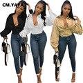 CM.YAYA Frauen Herbst Laterne Langarm Blusen Vintage-Mode Taste Up Hohe Taille Drehen Unten Neck Shirts Tops