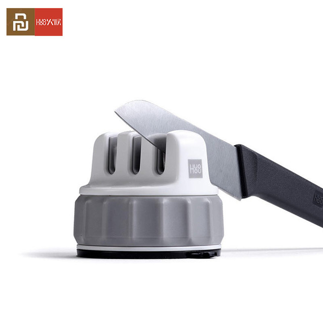 Youpin Huohou Mini Fixable Sharpen Stone Trible Wheel Whetstone Super suction Knife Sharpener Sharpening Tool Grindstone