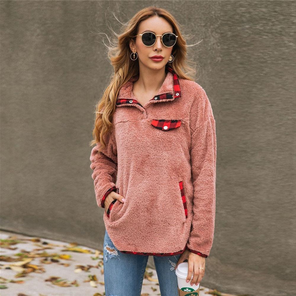 2019 Winter Fluffy Sweater Sherpa Fleece Plaid Turtleneck Pullovers Large Pocket Warm Tops Women Fall Casual Fluffy Sweaters