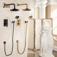 цена на ZGRK Concealed Bathroom Shower Faucet Wall Mount Bath Shower Mixer Tap Brass Antique 8 Rainfall with Handshower Shower Set