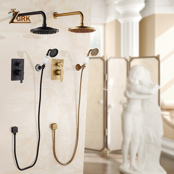 ZGRK Concealed Bathroom Shower Faucet Wall Mount Bath Shower Mixer Tap Brass Antique 8 Rainfall with Handshower Shower Set frap digital bathroom shower mixer with display bath shower faucet system set wall mount mixer digital display shower panel
