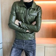 Zipper Green Motorcycle Jackets Deri Ceket 2020 Mens Leather