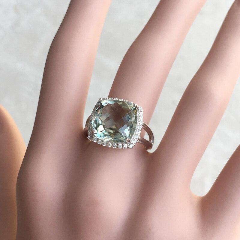 CSJ élégant vert améthyste anneau coussin cut12mm pierres précieuses anneaux sterling 925 argent fine bijoux pour femmes fille avec boîte-cadeau - 6