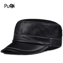 Pudi man genuine leather cap hat male winter army military baseball caps hats black brown HL816 цена