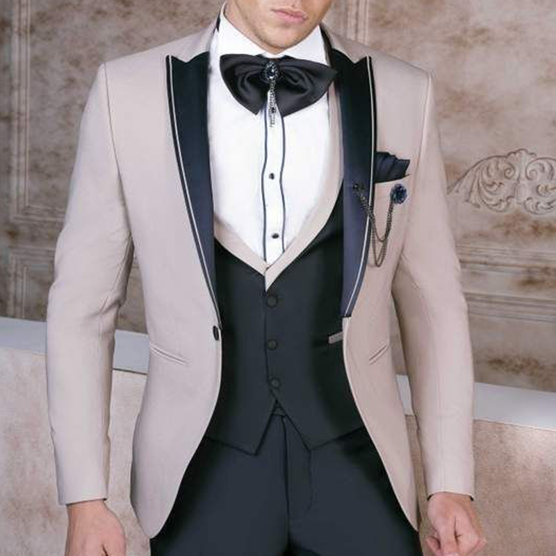 Brand New Groomsmen Peak Satin Lapel Groom Tuxedos Beige+Black Men Suits Wedding Best Man ( Jacket+Pants+Bow Tie+Vest ) C649