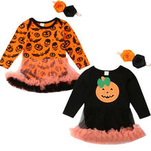 Baby Girl Bodysuit My 1st Halloween Pumpkin Romper Move Pumpkin Baby Dress Headband 0-24M(China)