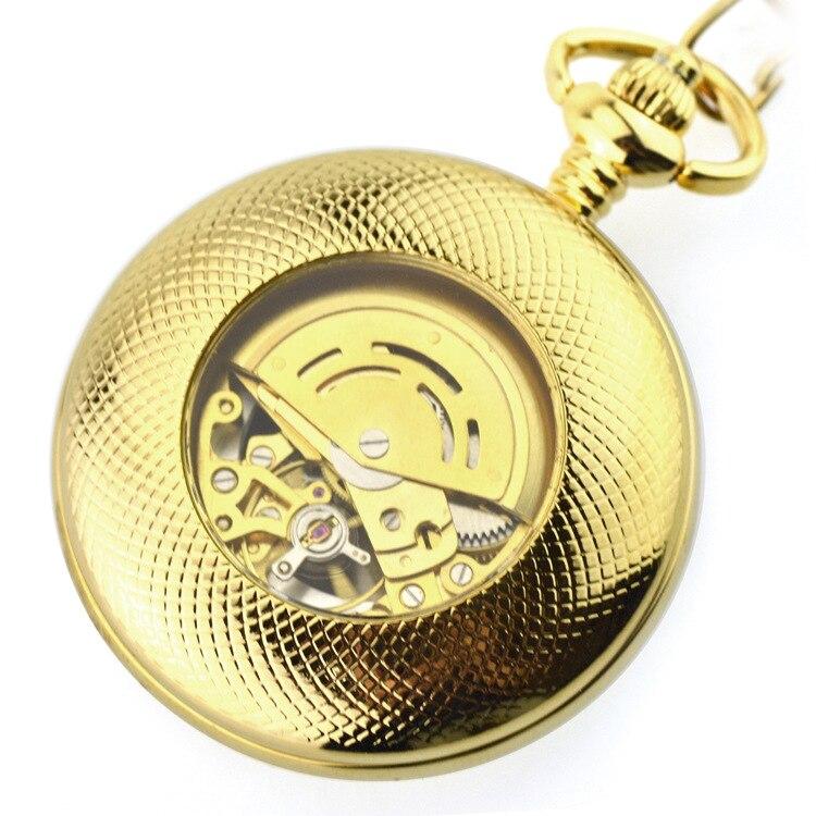 Чистый медный Автоматический ход мужские т черные римские Мужские механические карманные часы древние полые ретро циферблат Chian Римский но