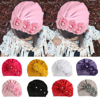 2019 moda tendencia chico niña bebé Infante turbante flor gorra sombrero sombreros linda flor única encantadora otoño nuevos accesorios para la cabeza