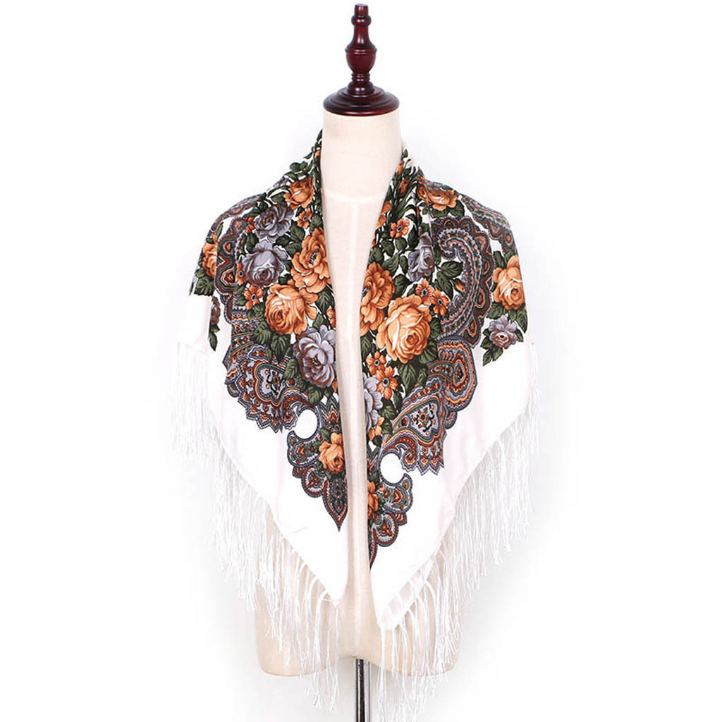 Women Lady Folk-custom Print Tassel Square Scarf Russian Women Wedding Tassel Scarf Retro Style Handkerchief Shawl #YJ