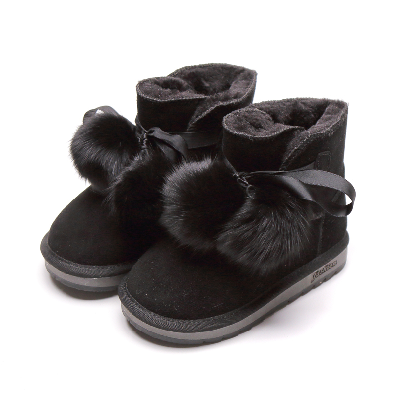 Fur Ball Cotton shoes children girls kids winter outdoor Snow boots Thicken keep warm lightweight Comfortable SGF006|Boots|Mother & Kids - title=