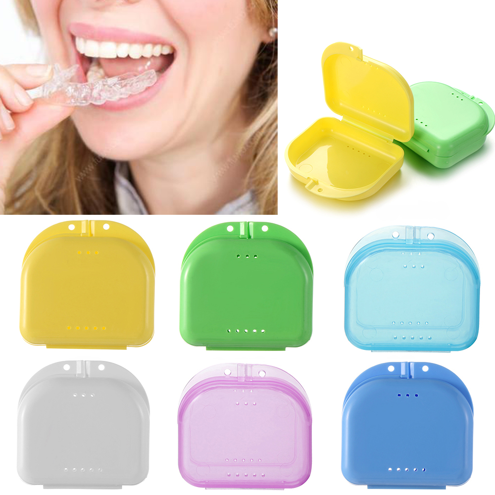 8Colors Dental Retainer Orthodontic Case Mouth Guard Denture Storage Plastic Box Oral Hygiene Supplies Organizer Accessories