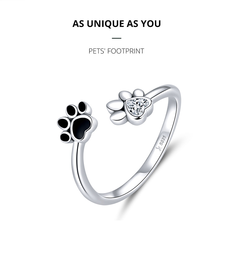 Hc2f6962e80394bdb94c6e18d94ad5723C - bamoer Sterling Silver 925 Black Enamel Dog Paw Open Adjustable Finger Rings for Women Anti-allergy Jewelry Accessories SCR605
