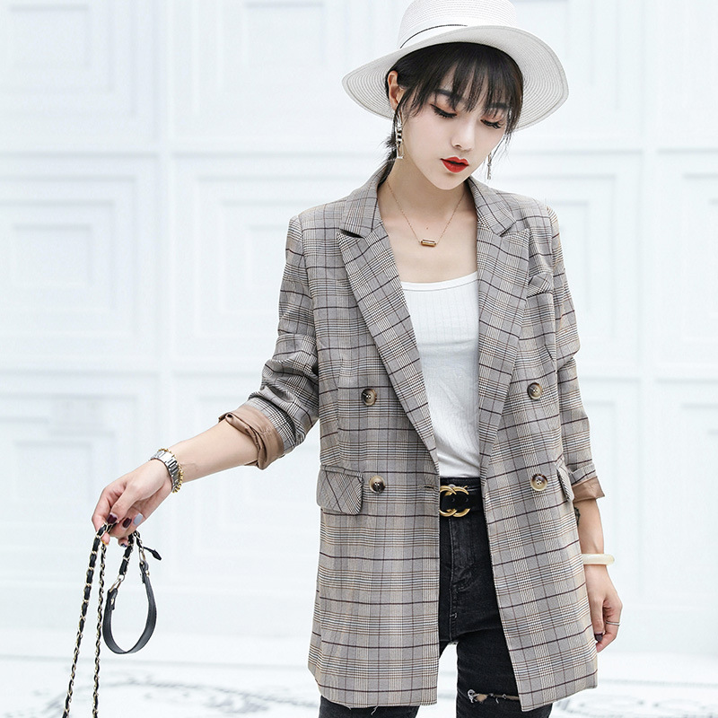 Autumn Double-breasted Suit Female High Quality Children's Blazer Casual Mid-length Jacket Office Top Autumn Women's Clothing
