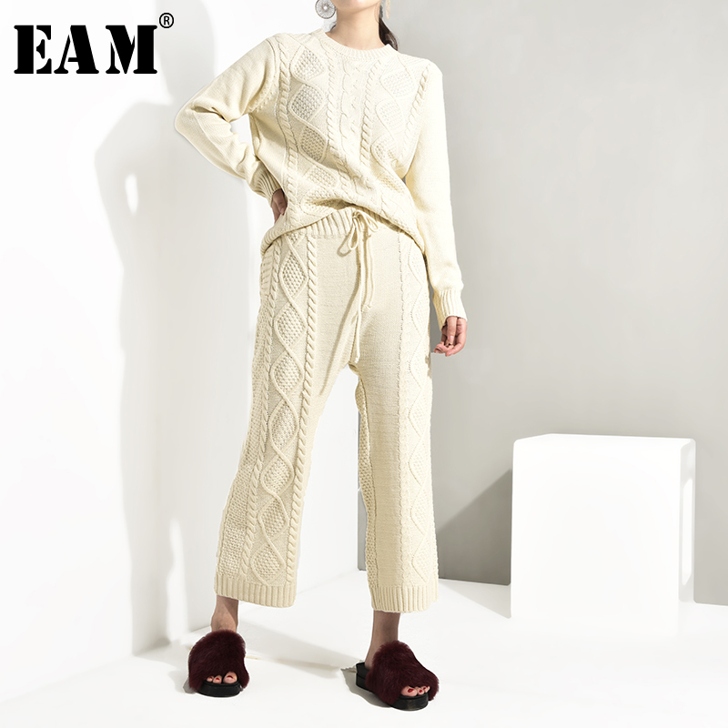 [EAM] 2020 Fashion New Spring Korean Loose Round Necklong Sleeve Knitting Top + Pants Thickening Two Pieces Sweater Set  AS116
