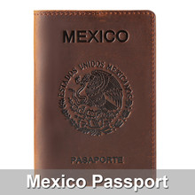 High-end Mexico Genuine Leather Passport Cover For Mexican Credit Card Holder Vintage Men Women Passport Case Travel Wallet(China)