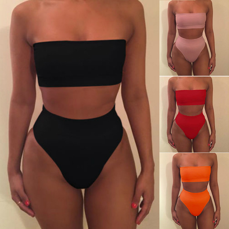 2019 Sexy High Waisted Strapless Boob Tube Top Bikini Set Swimsuit Two Pieces Solid Swimwear Brazilian Beachwear Women's Biquini