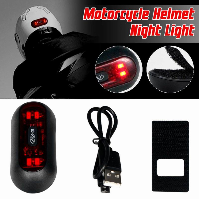 Motorcycle Helmet Night USB Charge Smart Light Strip Safety Signal Warning Light LED Motorcycle Helmet Taillight For Motorcycle