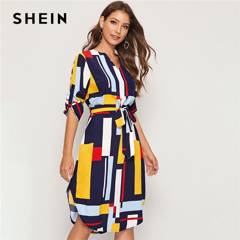 SHEIN Geometric V Cut Neck Colorblock Casual Dress With Belt Women 2019 Autumn Roll Up Sleeve Button Side Straight Midi Dresses