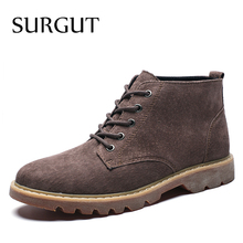 Ankle-Boots British-Boot Lace-Up Male Botas Breathable Winter Fashion SURGUT Casual Autumn