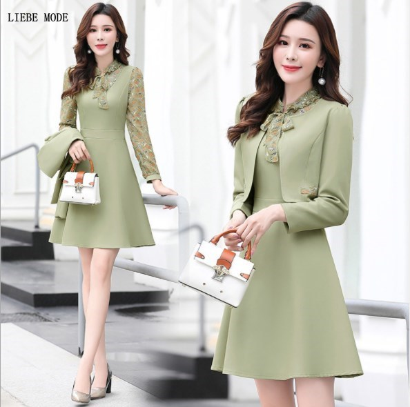 Ladies Formal Dress Jackets Suits For Office Wear Blazer And Dress 2 Piece Set Outfit Women Dress With Jacket Pink Yellow Green