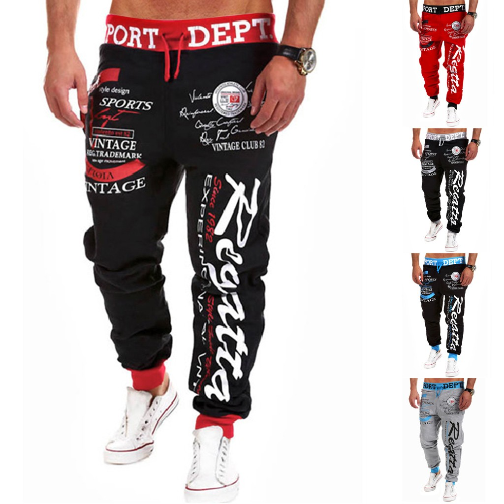 Men Casual Loose Letter Print Drawstring Elastic Waist Long Pants Trousers XS-XL Streetwear Pantalones Hombre Joggers Sweatpants
