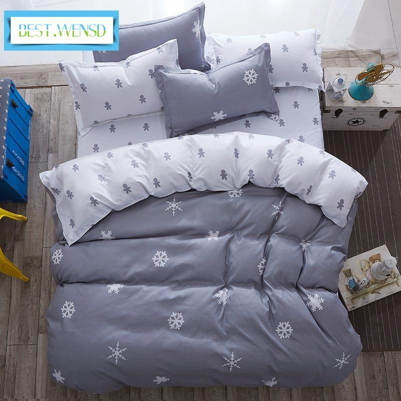 Лучшее. WENSD одеяло king gray постельное белье Снежинка хлопок Комплект постельного белья зимние простыни пододеяльник наборы jogo de cama
