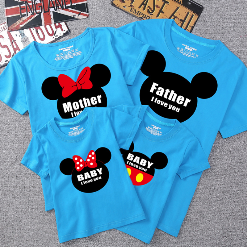 Dad And Me T-shirt Summer Mother And Daughter Clothes Boys Girls Mickey Minnie Cotton Top Family Matching Clothes