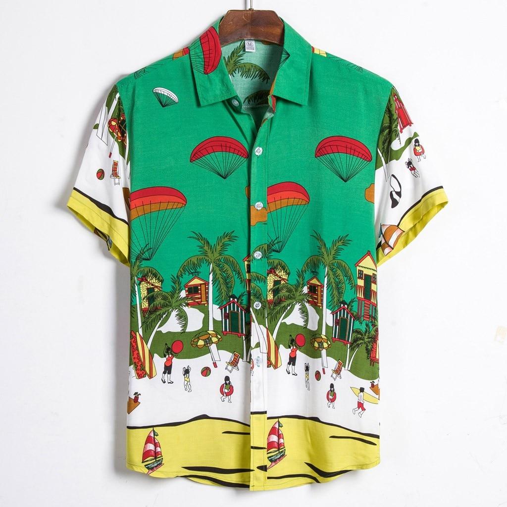Mens Ethnic Short Sleeve Casual Cotton Linen Printing Hawaiian Shirt Blouse High Quality Camisa Masculina 2019 W1218