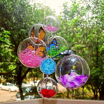 Acrylic Plastic Transparent Hollow Ball Festival/party Stage Decoration Hanging Candy Box Christmas Ball 16-20cm(diameter)