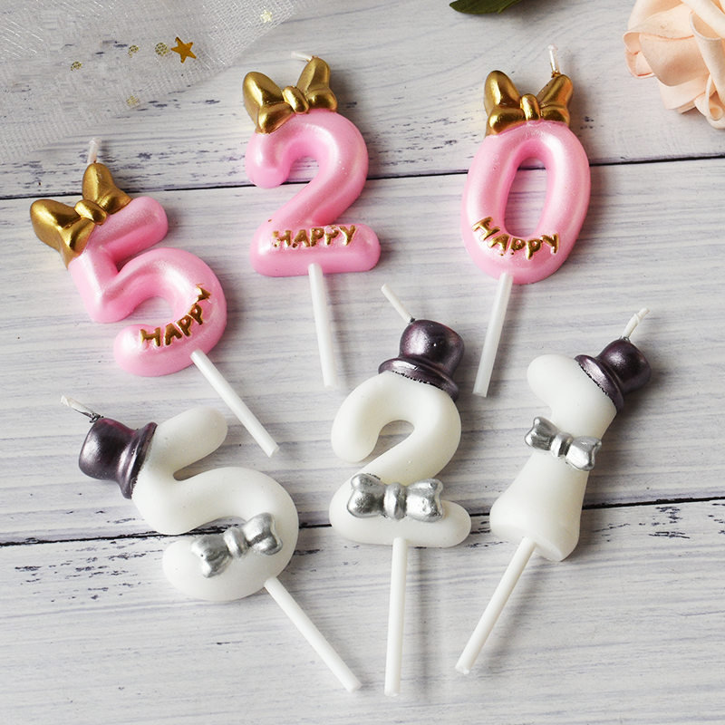 Number Cake Candle Birthday Party Supplies Cake Topper 0 1 <font><b>2</b></font> 3 4 5 6 7 8 9 Anniversary Cake Numbers Age Candle Party Decoration image