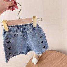 Summer 2021 baby girls love printing denim shorts children loose all-match shorts