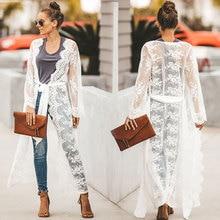 Women Lace Hollow Crochet Swimwear Bikini Long Sleeve Cover Up Beach Dress Sarongs Kaftan long sleeve crochet panel cover up