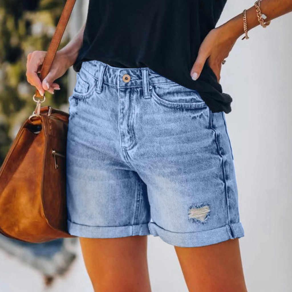 ผู้หญิงฤดูร้อนกางเกงยีนส์กางเกงขาสั้นแฟชั่นผู้หญิงกางเกงยีนส์หญิงด้านล่างรูเซ็กซี่ลำลองหลวมสั้นFemme Streetwear #617
