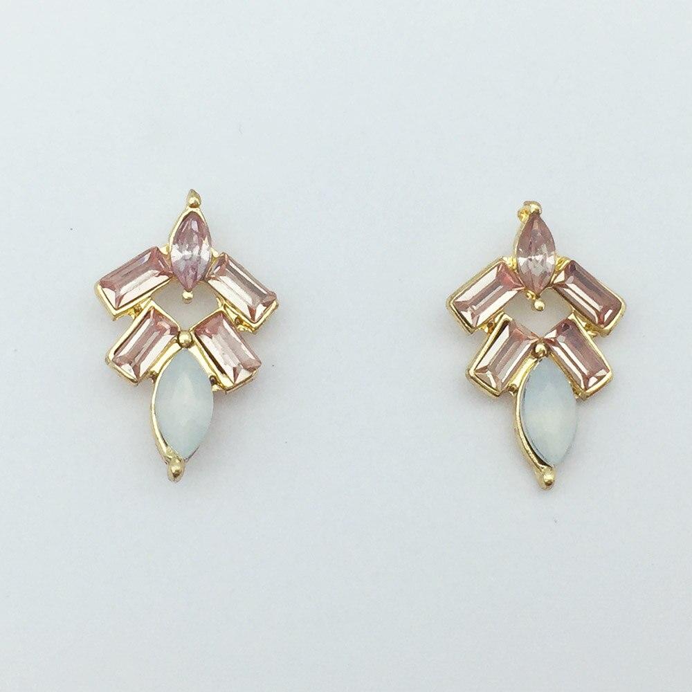 Stud Earrings For Women Girls Alloy Crystal Floral Drop Pendientes
