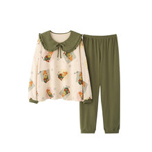 Осенне зимняя женская Хлопковая пижама с длинным рукавом милая