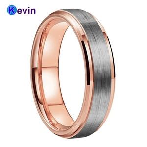 Image 1 - חתונה טבעת רוז זהב טונגסטן טבעת לגברים ונשים להקת 6MM