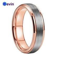 งานแต่งงานแหวน Rose Gold แหวนทังสเตนสำหรับผู้ชายและผู้หญิงวง 6MM