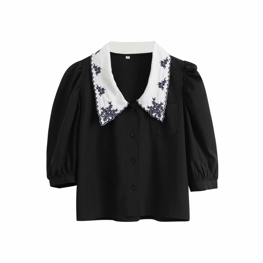 New Spring Fashion Women Sweet Embroidery Peter Pan Collar Casual Blouse Office Lady Puff Sleeve Shirts Chic Chemise Tops LS6467