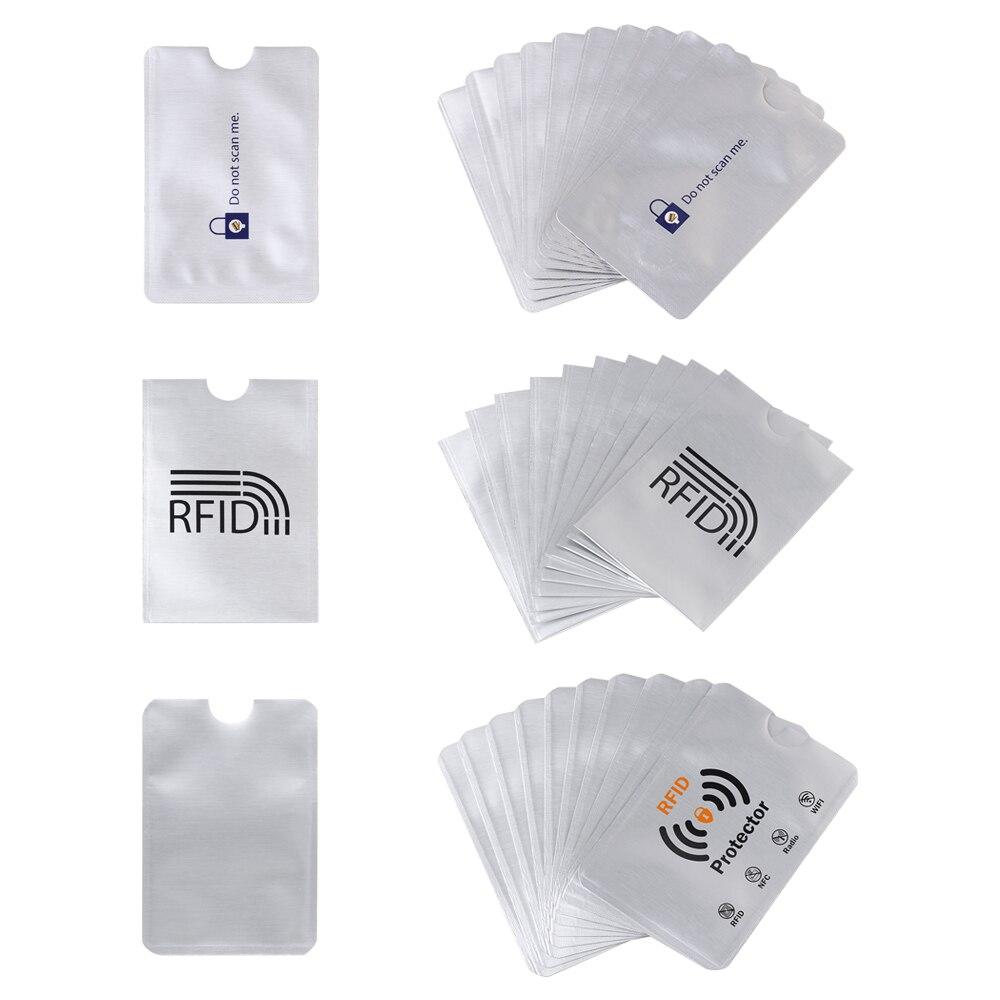 10 pièces Anti-vol RFID portefeuille bloquant le protecteur de porte-carte empêchent la numérisation non autorisée porte-cartes en Aluminium étui pour carte d'identité