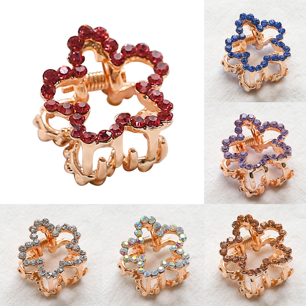 Geometric Hairpins For Women Gold Metal Small Flower Shape Top Hair Claw Clip Fringe Crab For Hair Wedding Crystal Hair Jewelry