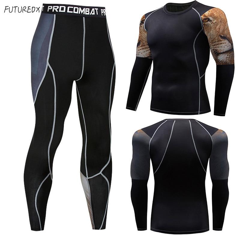 Men's Compressed Thermal Underwear Warm Underlayer Long Sleeve Warm Knitwear Fleece Trousers Clothing Rash Gard Men's Tights