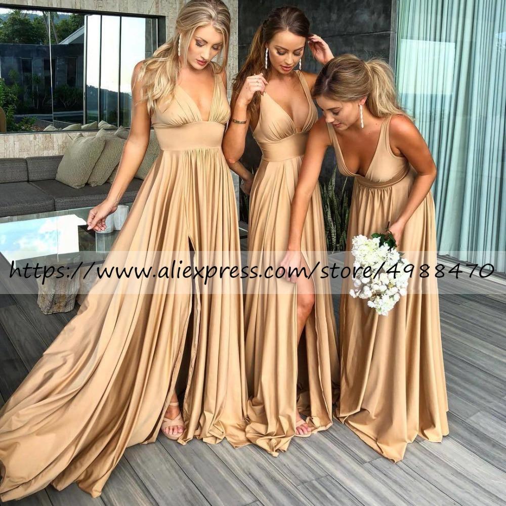 Champagne Gold Satin A Line Bridesmaid Dresses Sexy High Split Robe Demoiselle D'honneur Bridemaid Dress Plus Size Evening Party
