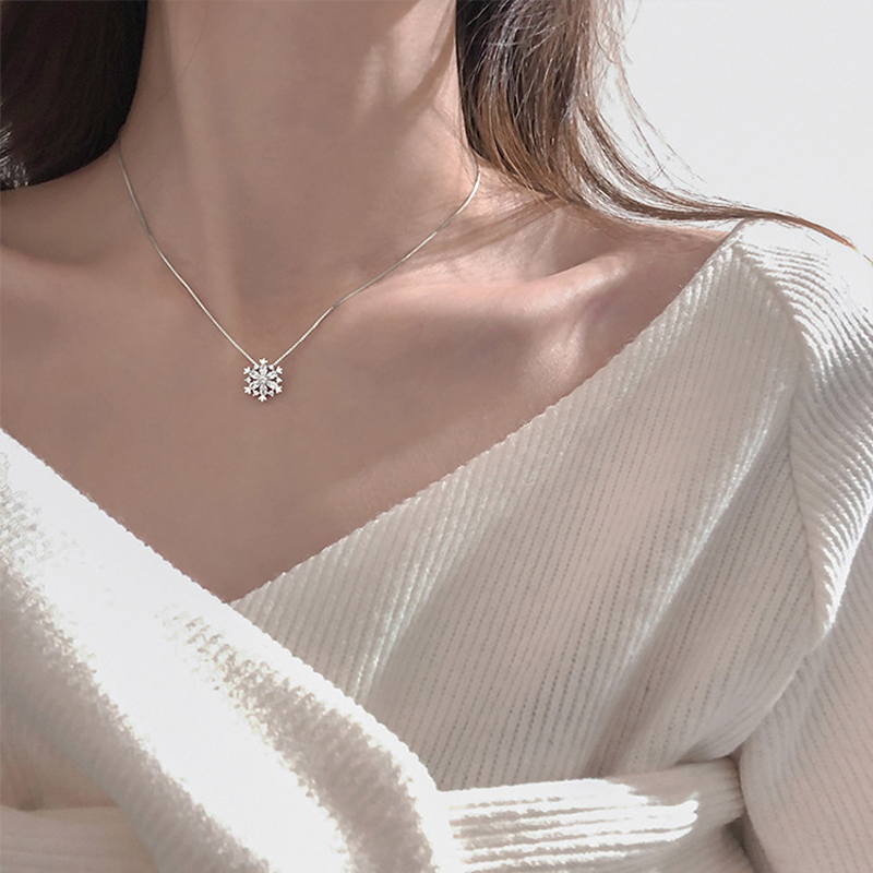 Elegant 925 Sterling Silver Luxury Zircon Necklace Box Chain Pendant Design Fine Jewelry Necklace For Women Wedding Gift NK035(China)