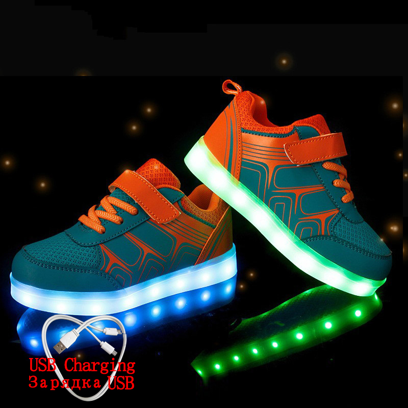 Luminous Sneakers USB Charging Led Children Shoes 2019 Spring Kids With Light Up Luminous Glowing Shoes For Boys&girls Sneakers